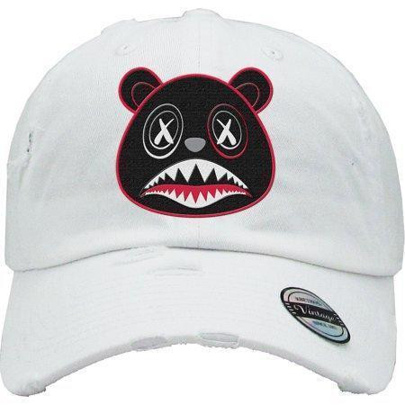 9c815e95 BAWS Red Outline Black Bear White Dad Hat
