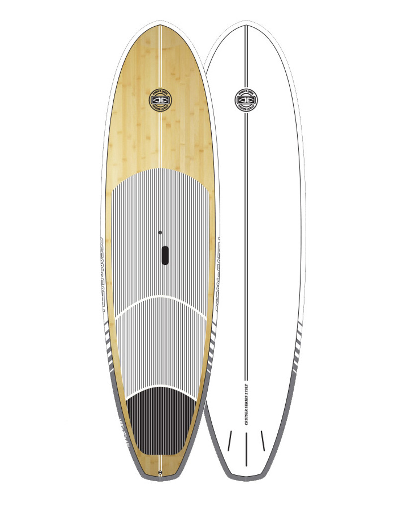 Cruiser Epoxy/Bamboo SUP Board - White 9'6""