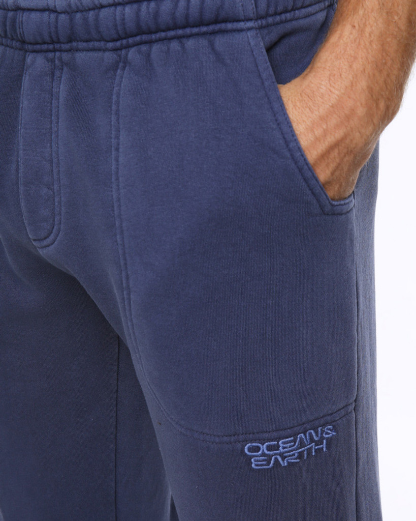 Big Mens Trip Open Leg Track Pant - Navy