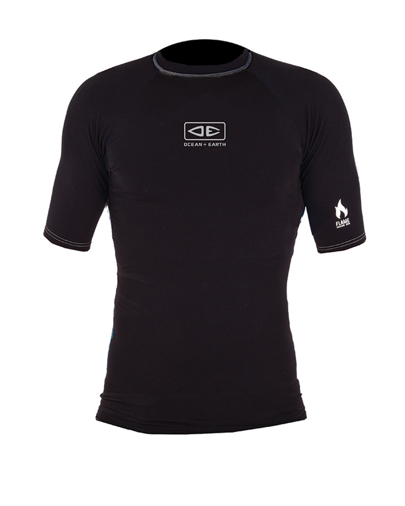 Mens Flame Short Sleeve Thermo Skin - Black