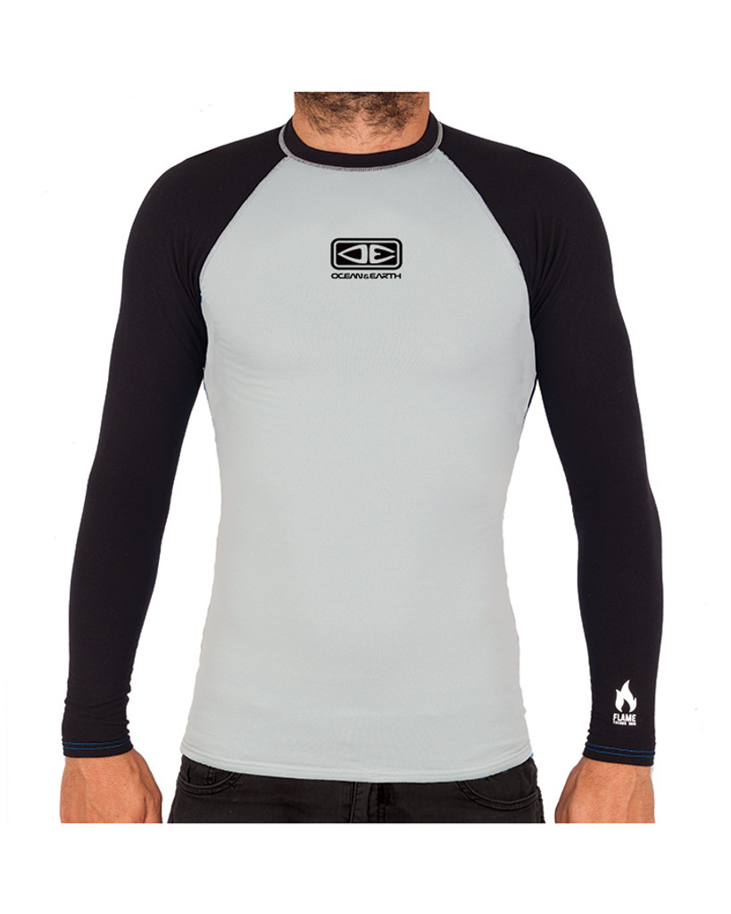 Mens Flame Thermo Long Sleeve Skin - Light Grey