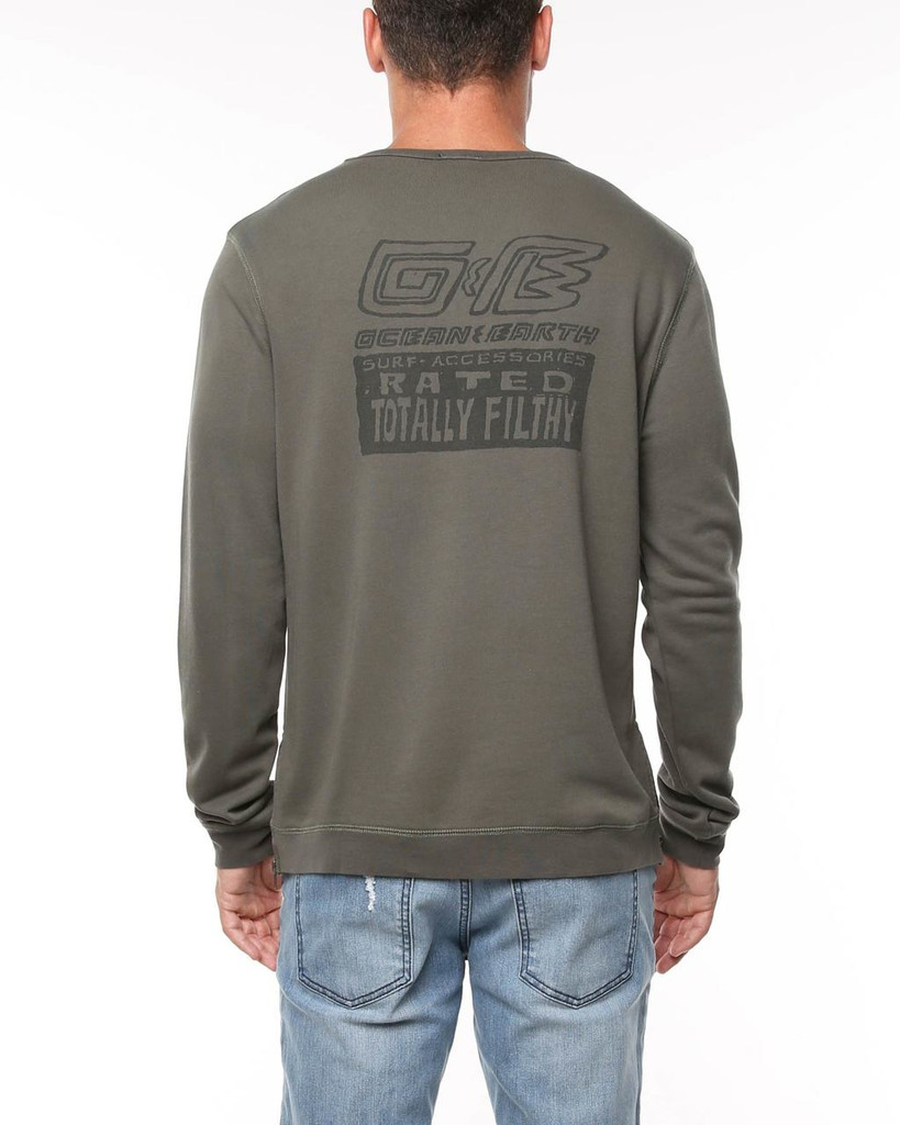 Mens Totally Filthy Crew-Olive