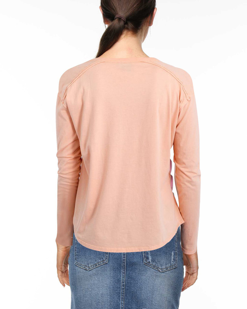 Ladies Laced L/Sleeve Tee-Peach