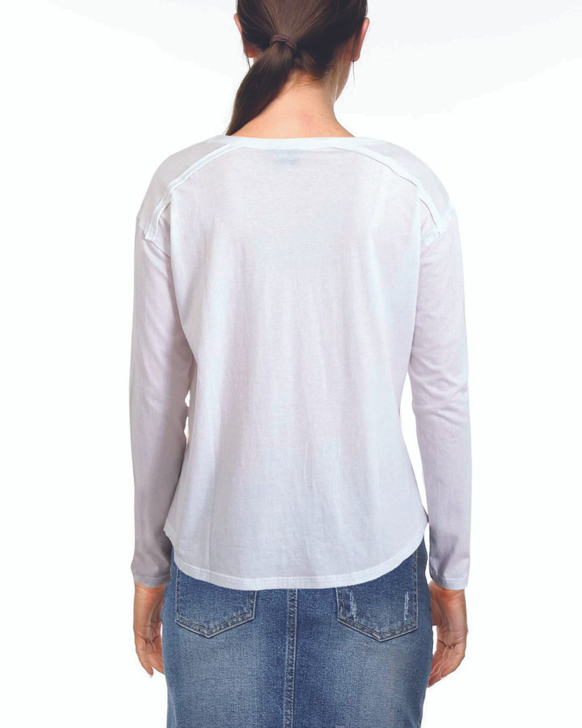 Ladies Laced L/Sleeve Tee-White
