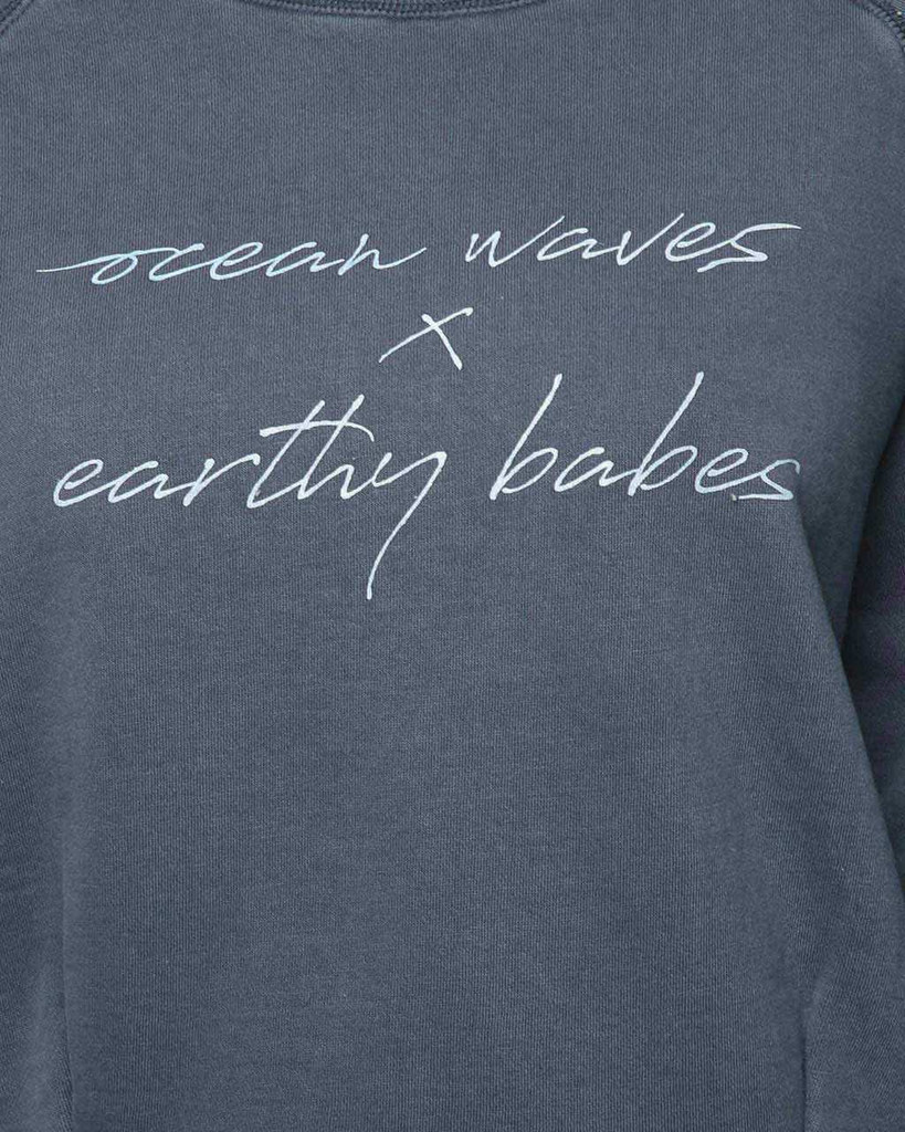 Ladies Waves & Babes Crew-Navy