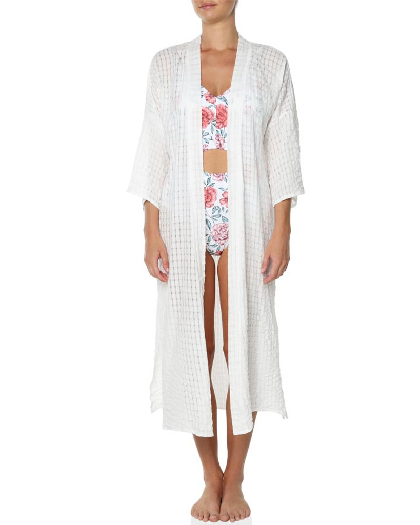 Ladies Swan About Beach Kimono-White