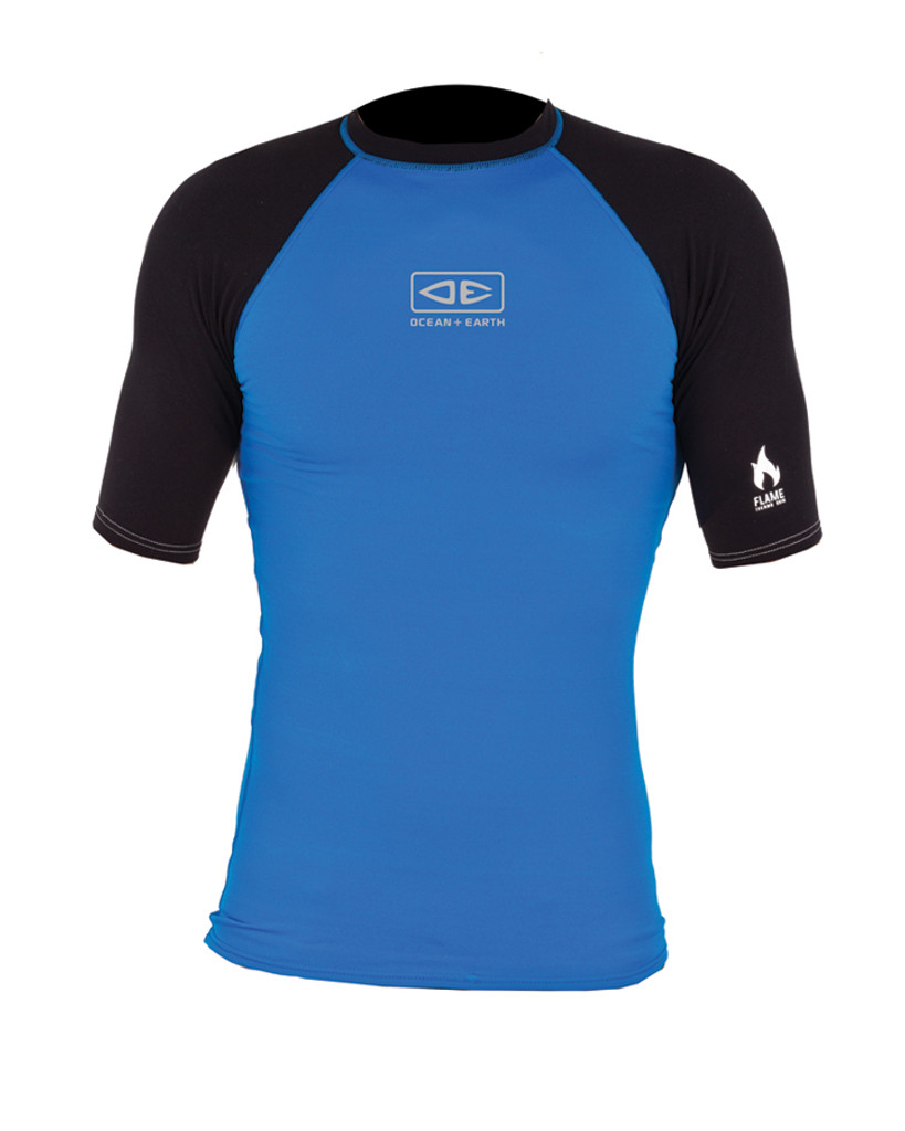 Mens Flame Short Sleeve Thermo Skin - Blue