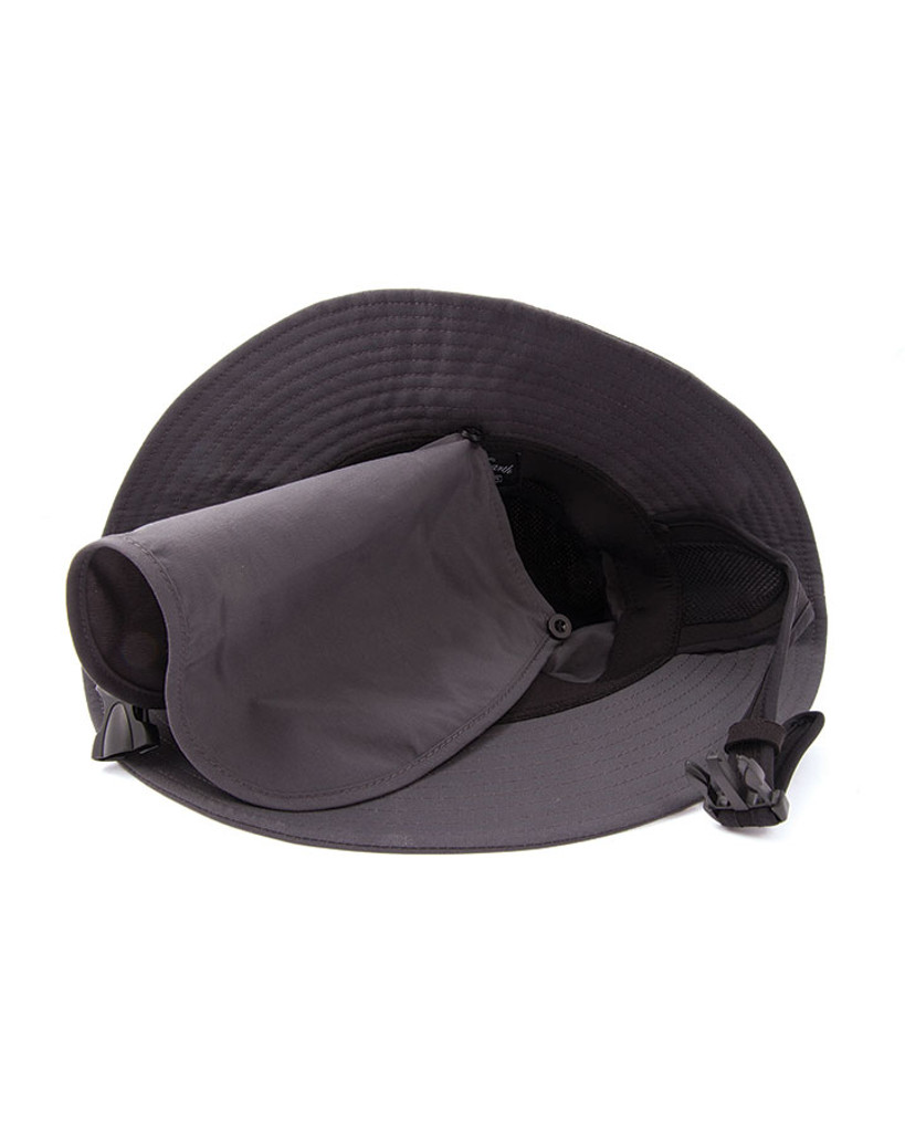 Mens Indo Stiff Peak Surf Hat - Black