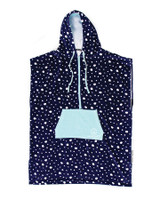Ladies Zip Front Hooded Poncho - Navy Dot