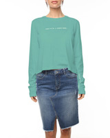 Ladies Lovin Cropped L/S Tee-Jade