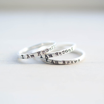 I Am Strong I Am Brave I Am Enough Empowerment Ring set