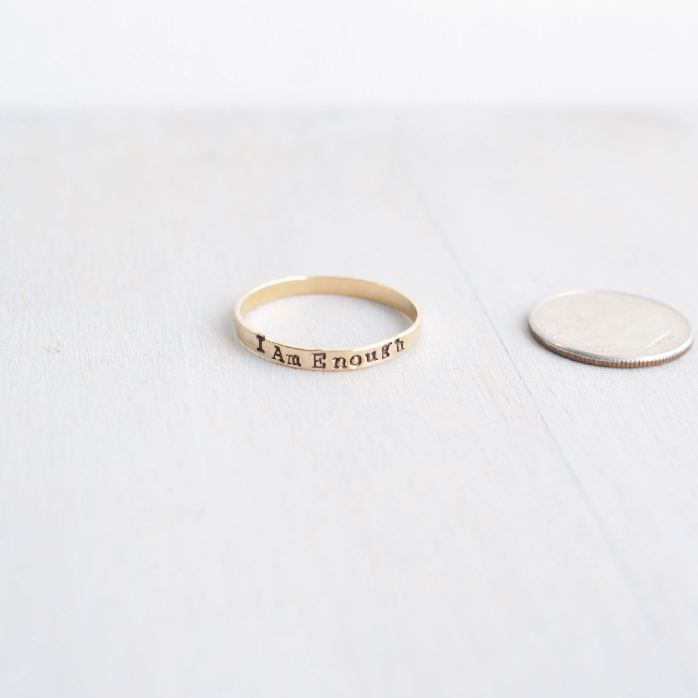 I am Enough Empowerment Ring in Gold-Filled