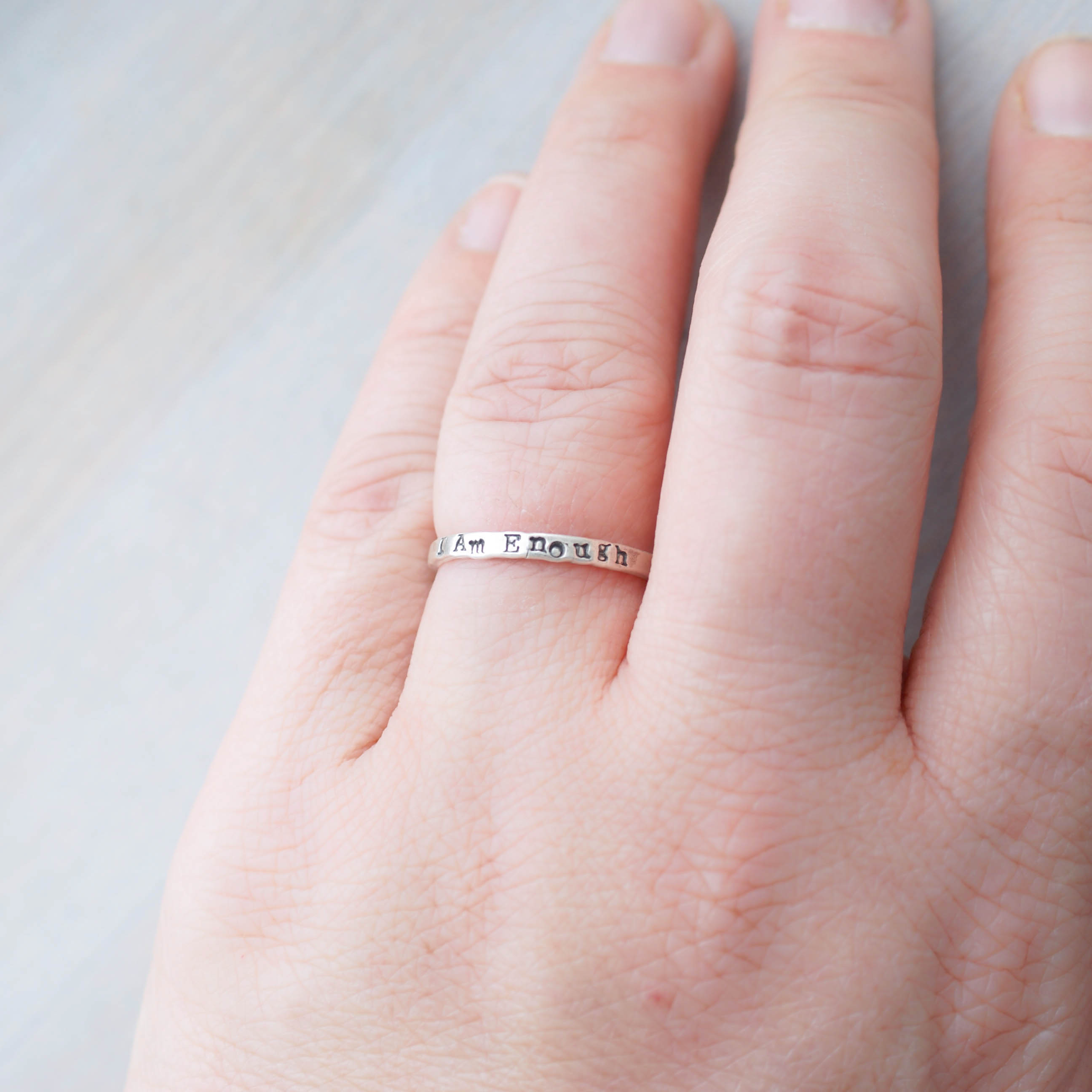 I am Enough Empowerment Ring in Sterling Silver