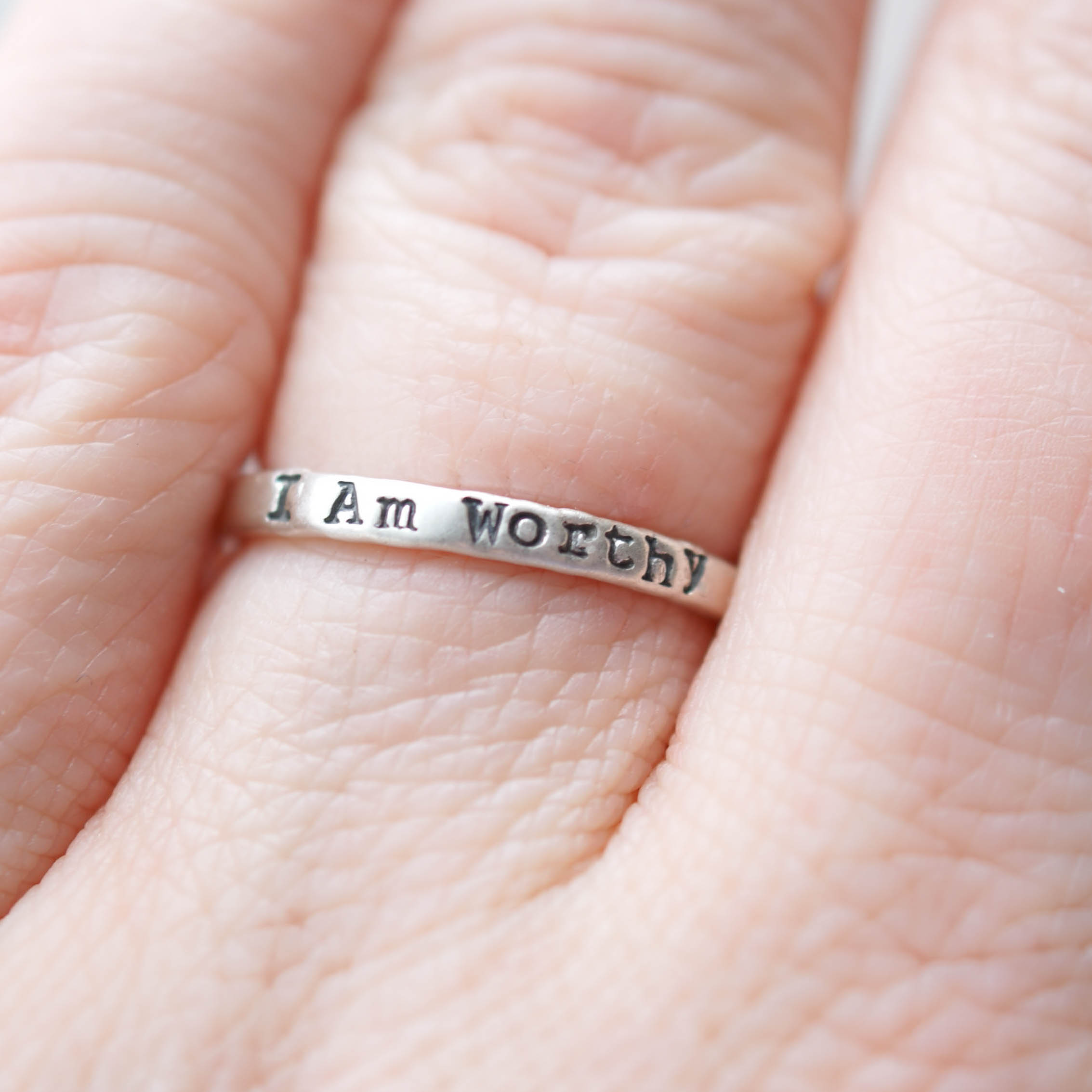 I am Worthy Empowerment Ring in Sterling Silver