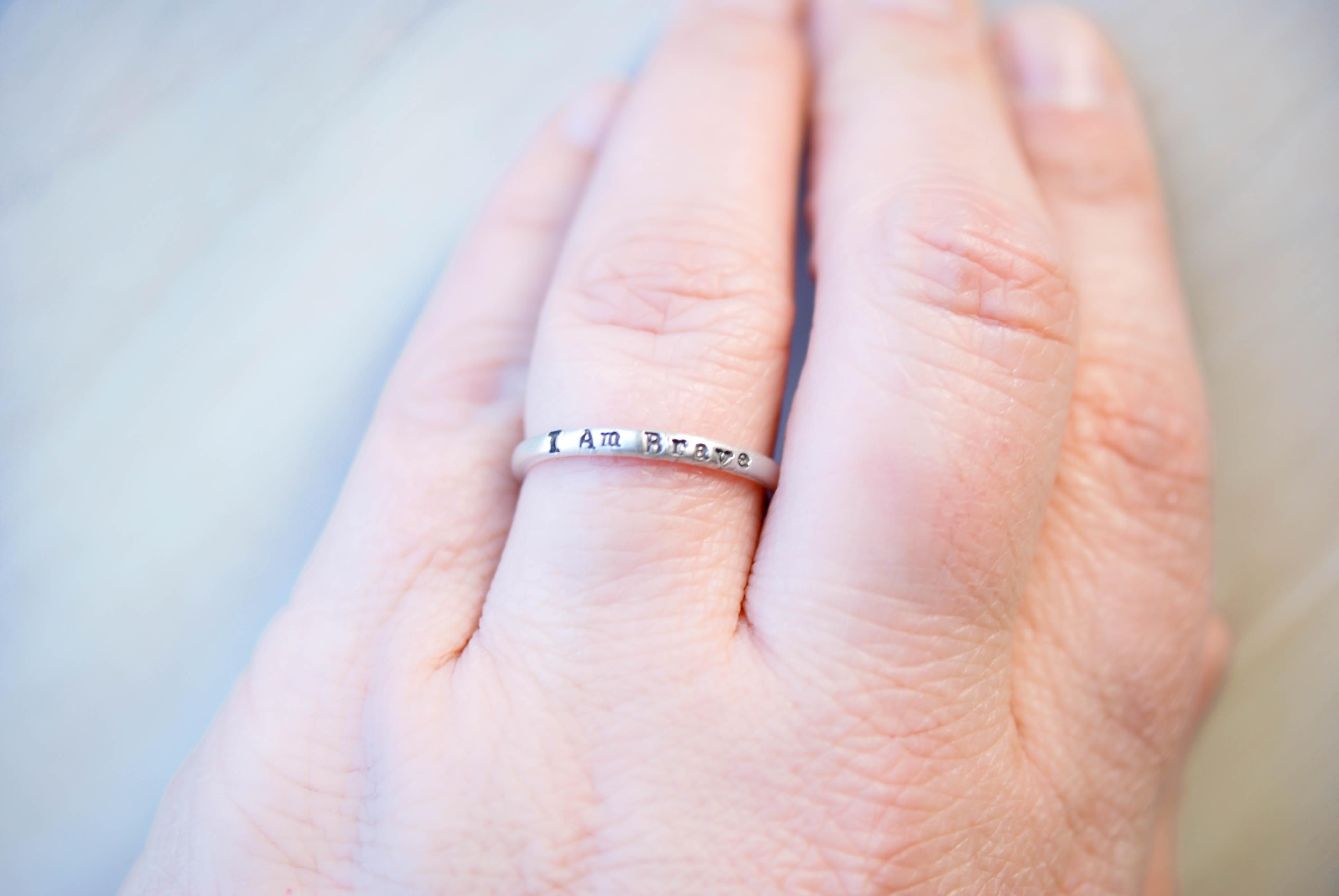 Strong Brave Enough  Affirmation Ring Set