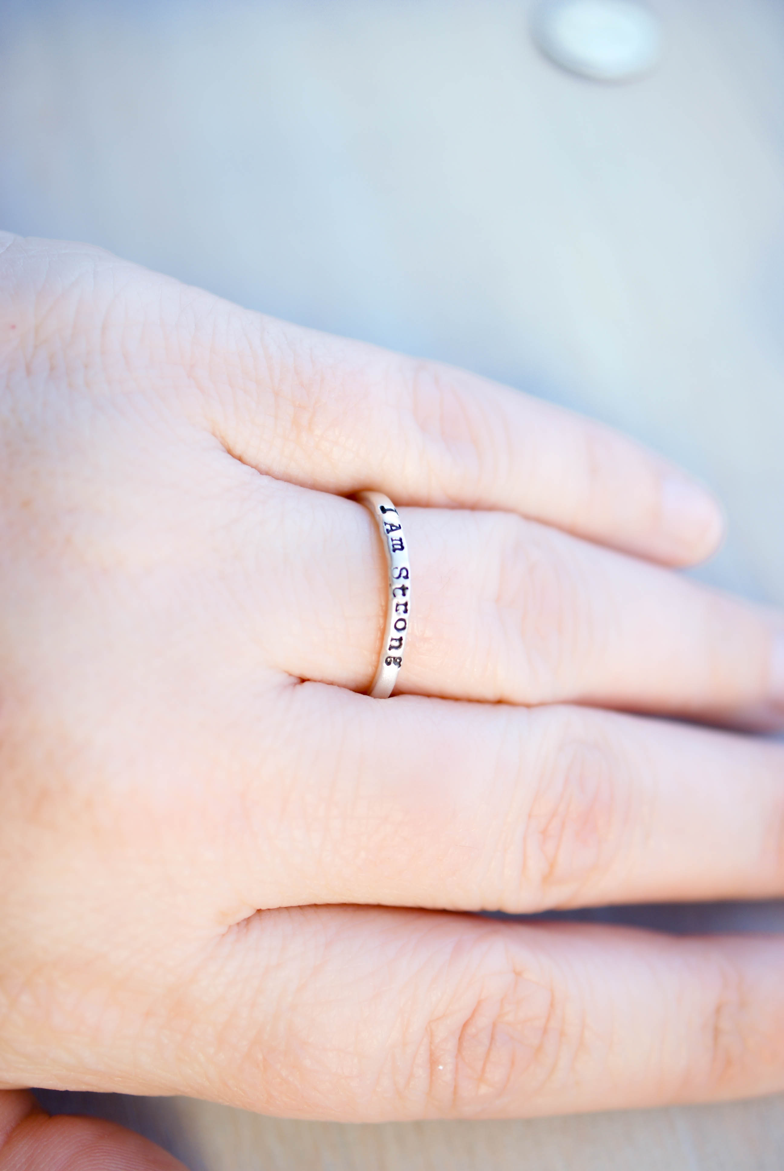 Sterling Silver Strong Brave Enough Ring Set