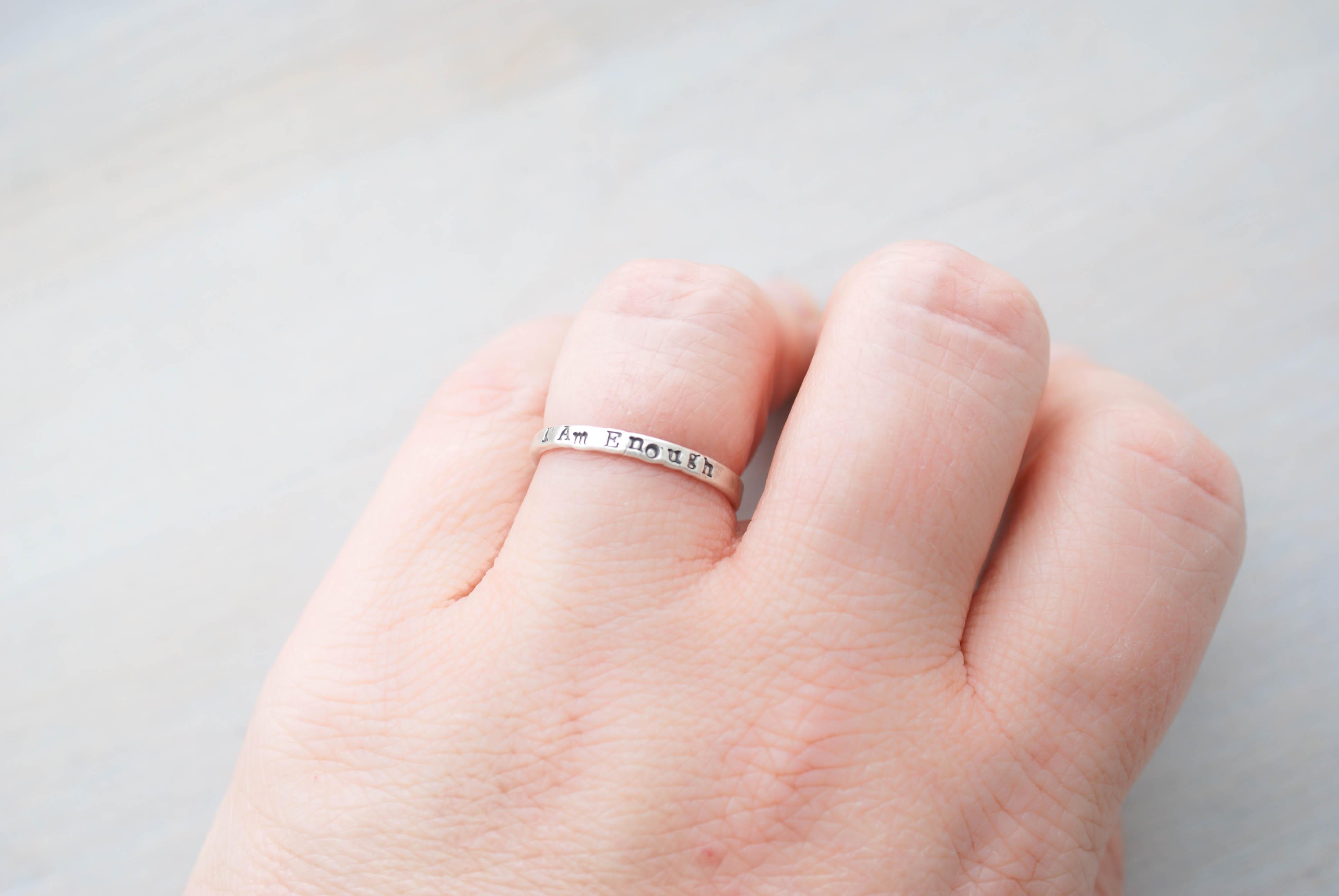 Strong Brave Enough Mantra Ring Set