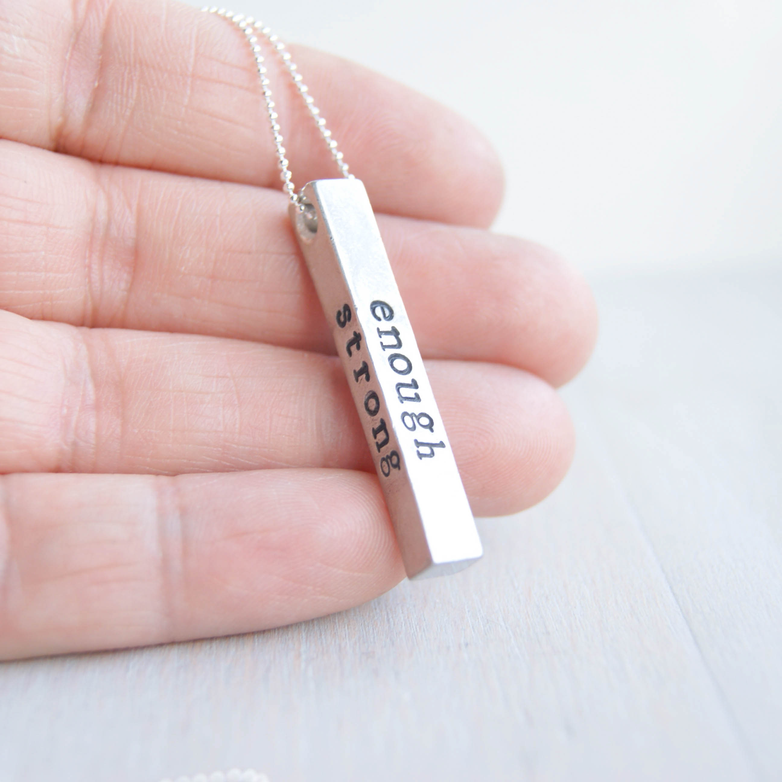 Strong Brave Enough Necklace in Artisan Pewter