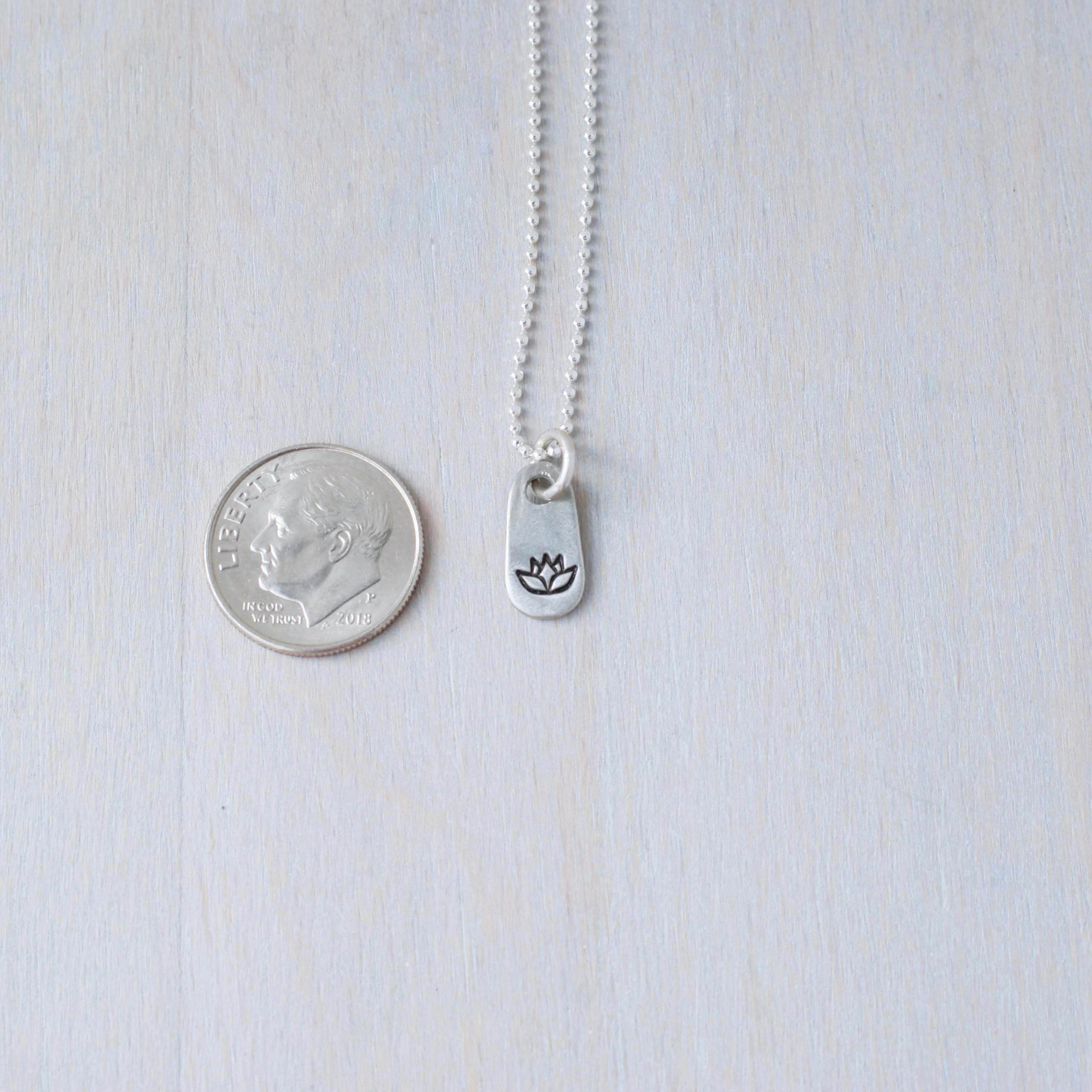 Tiny Lotus Tag Necklace in Artisan Pewter