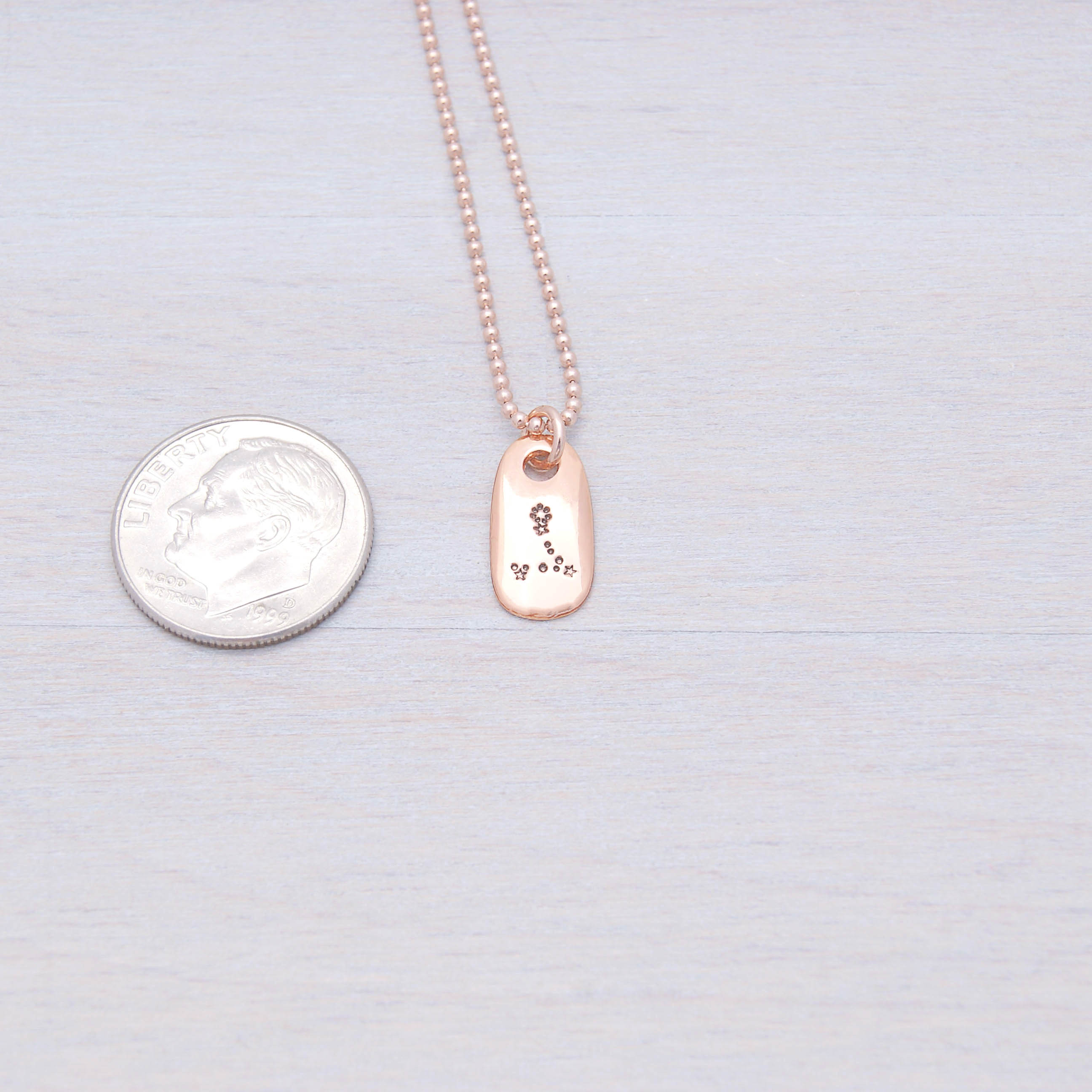 Pisces Constellation Zodiac Rose Gold Necklace