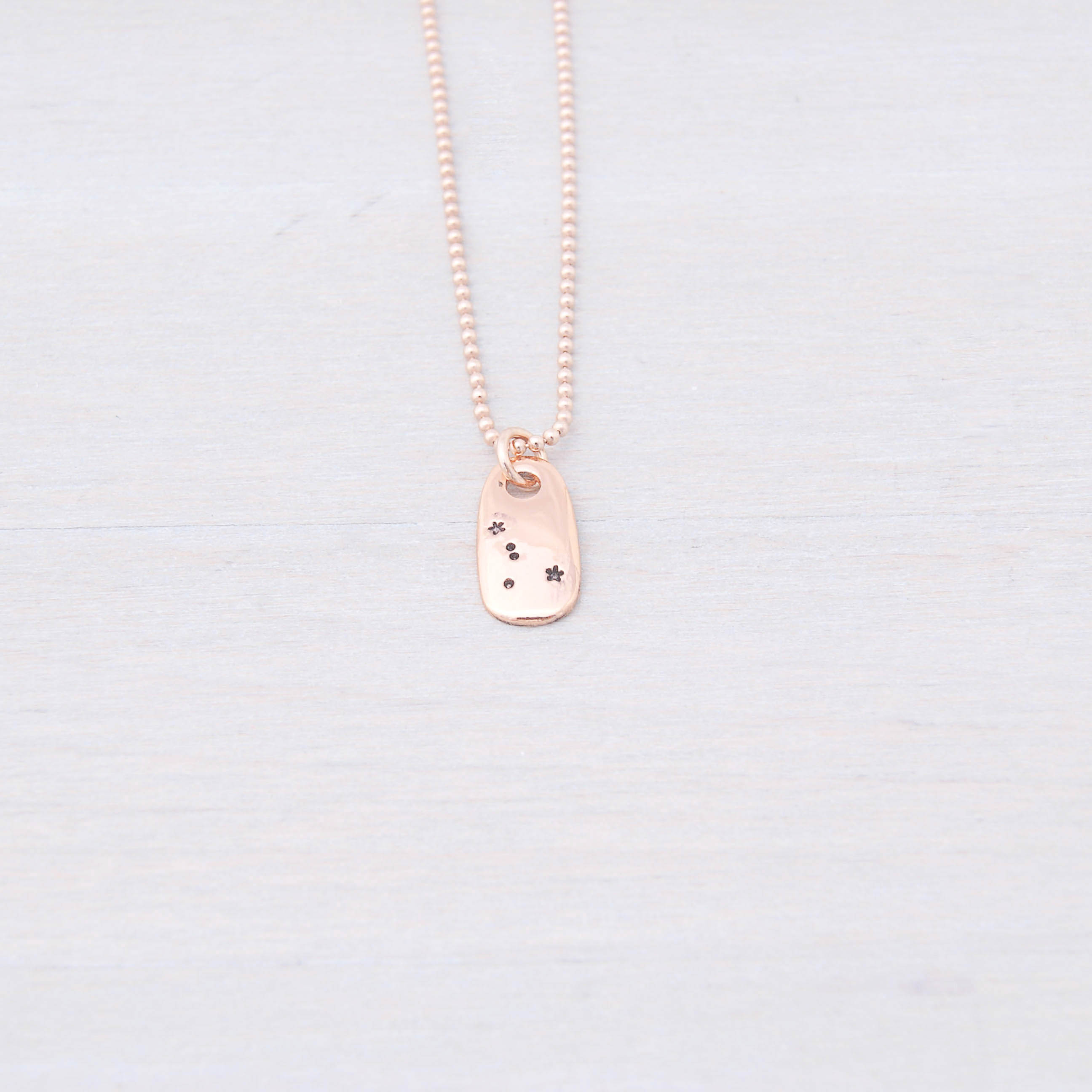 Cancer Zodiac Constellation Necklace in Rose Gold