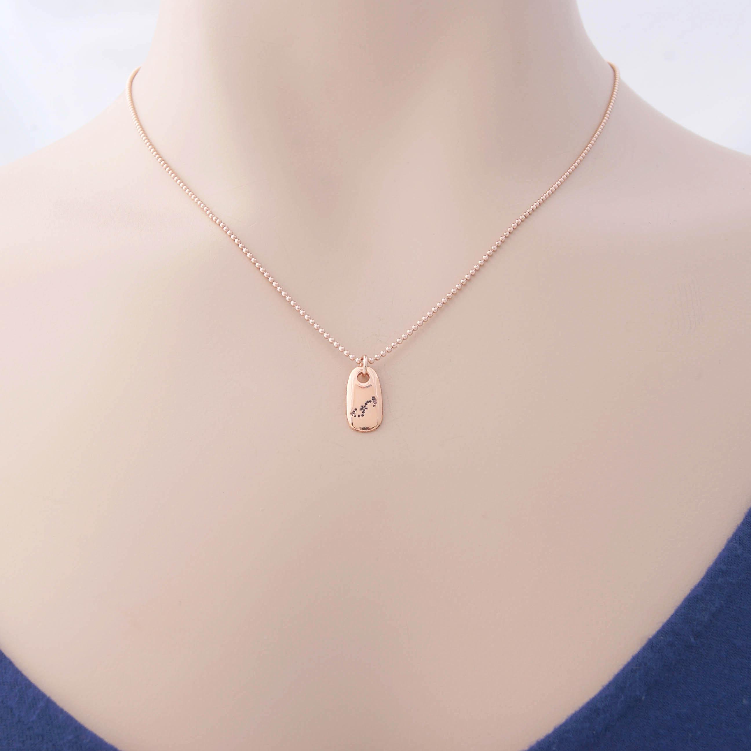 Scorpio Constellation Zodiac Necklace in Rose Gold