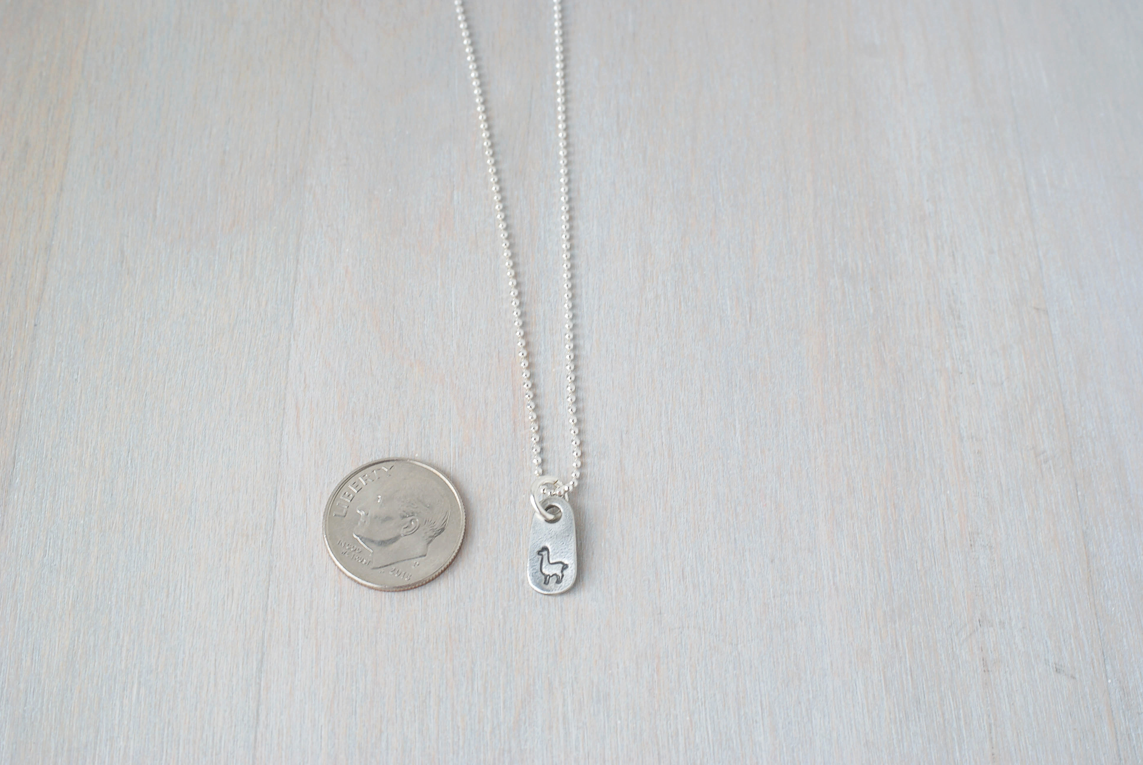 Llama Necklace in Artisan Pewter