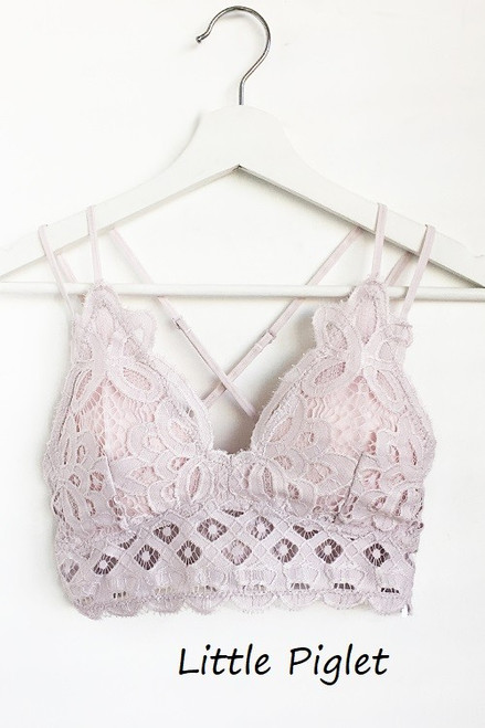 The Scalloped Lace Bralette, Little Piglet