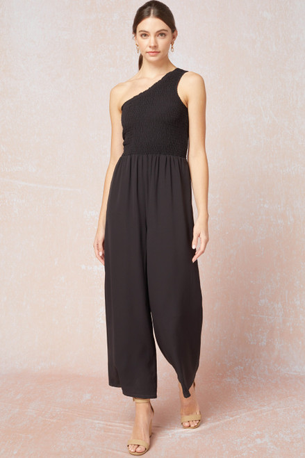 Smocked One Shoulder Jumpsuit, Black