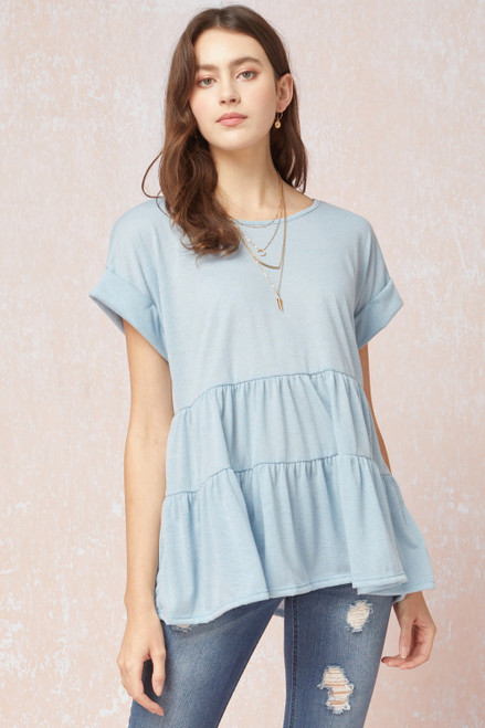 Tiered Cuffed Sleeve Top, Blue