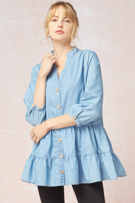 Front Button Mid Sleeve Top, Lt Blue