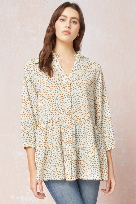 Front Button Tiered Mid Sleeve Top, Cream