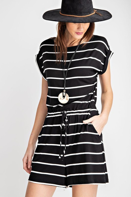 Striped Round Neck Romper, Black/Ivory