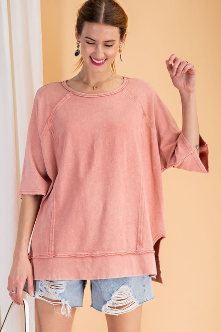 Short Sleeve Terry Knit Top, Faded Coral
