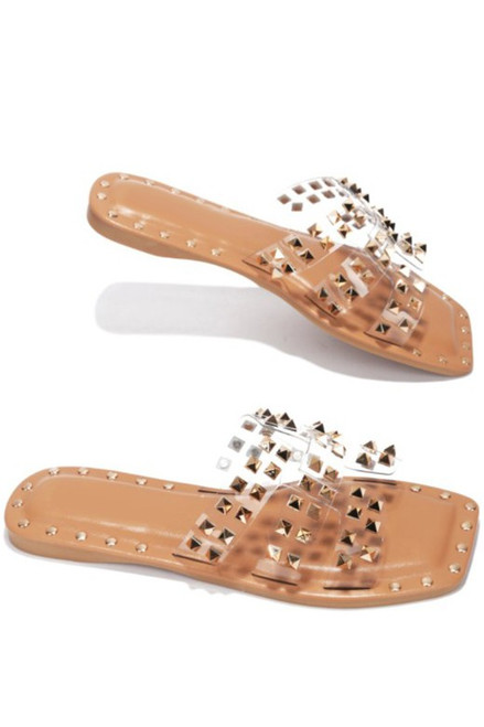 Studded Sandals, Clear