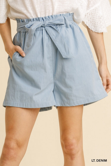 Paperbag Tie Belt Shorts, Lt Denim