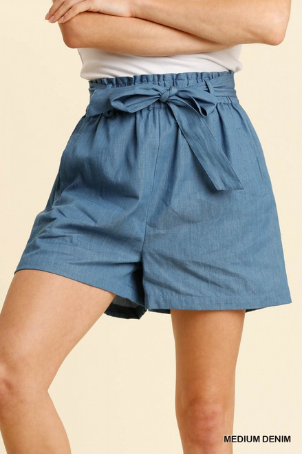 Paperbag Tie Belt Shorts, Med Denim