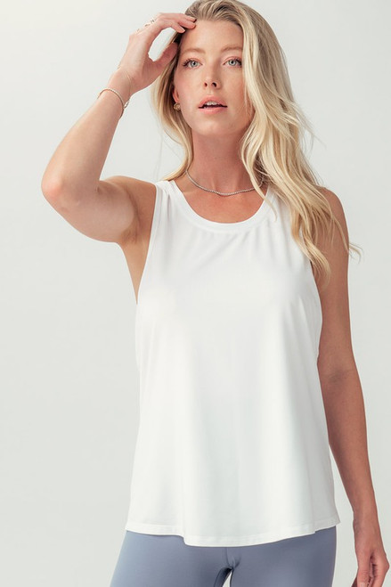 Sleeveless Solid Knit Top, White