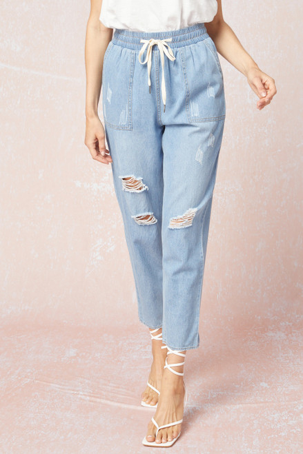 Distressed Chambray Joggers, Blue