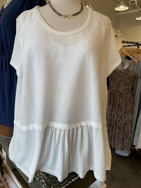 Curvy Ribbed Round Neck SS Top, Off White
