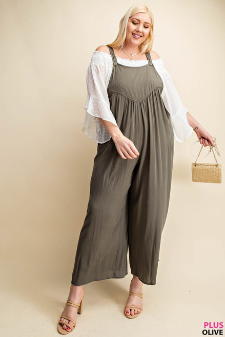 Curvy Overall Rayon Crepe Jumpsuit, Olive