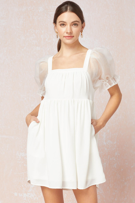 Solid Square Neck Babydoll Dress, Off White