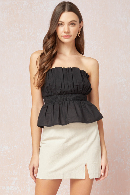 Solid Peplum Cropped Tube Top, Black