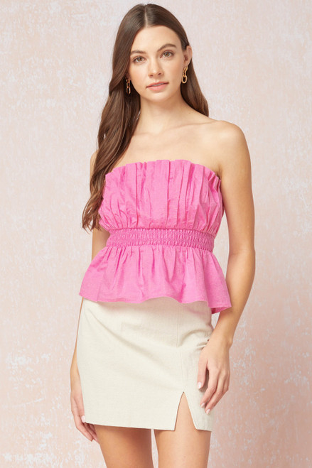 Solid Peplum Cropped Tube Top, Pink