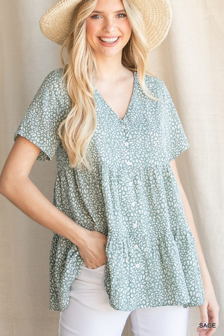 Leopard Print Button Up Tiered Top, Sage