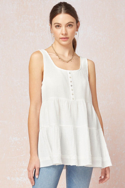 Solid Textured Scoop Neck Sleeveless Top, Off White
