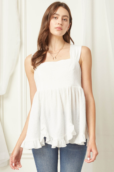 Solid Crinkled Square Neck Sleeveless Top, Off White