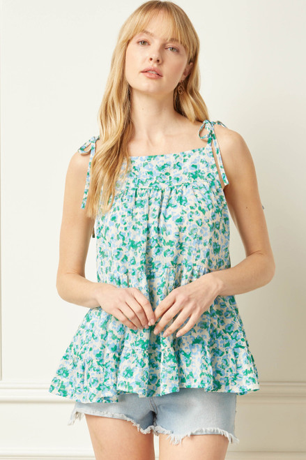 Printed Square Neck Sleeveless Top, Green Combo