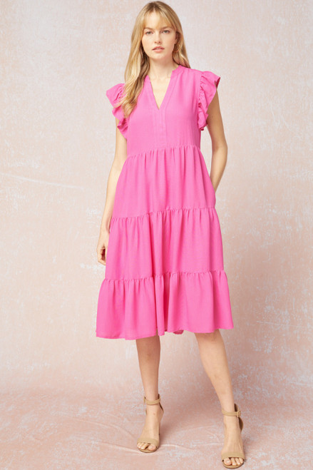 Solid V-Neck Tiered Midi Dress, Hot Pink