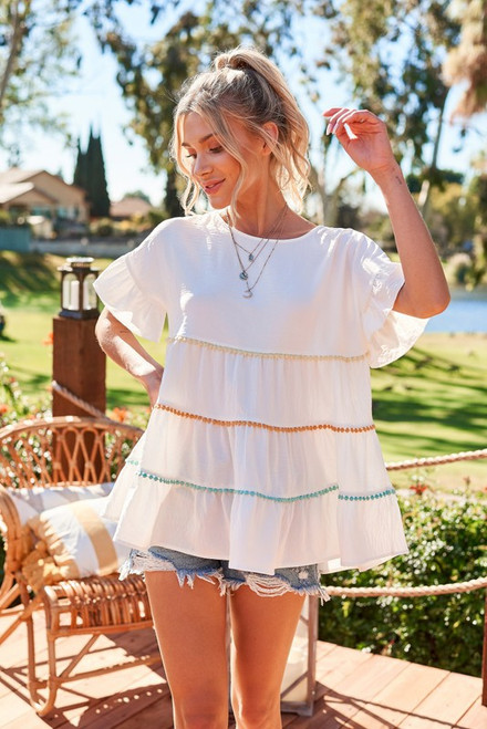 Tiered Babydoll Top w/ Color Pom Poms, White